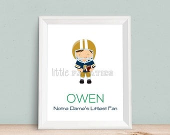 Notre Dame Football Art Print - Perfect for a nursery, kids bedroom, playroom, or baby shower gift