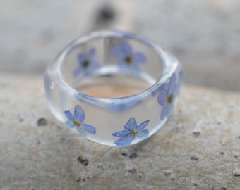 Resin Ring, Real flower Jewelry, Nature Lover Ring,Clear Resin Jewelry, Forger-me-not jewelry, OOAK Jewelry