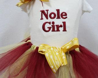 Florida State University baby girl outfit, Seminole baby girl outfit, FSU baby girl Nole tutu set, Garnet and Gold tutu, Seminole onesie