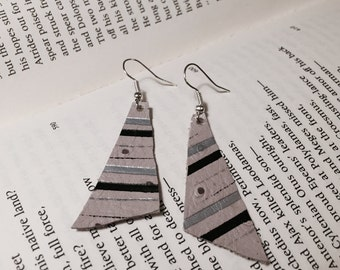 Asymmetrical Gray Leather Earrings with Silver and Black Stripes