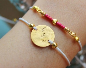 PERSONALIZED BRACELET CUSTOMIZED best friends anniversary gift birthday for her adjustable one size love couple Valentine's day gold pendant