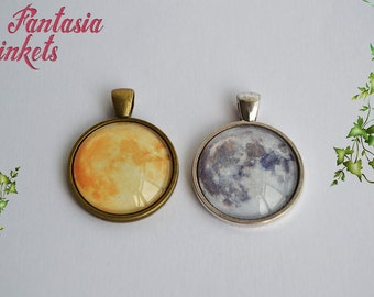 Realistic Full Moon Photo Glass Pendant Necklace - Choose your Style
