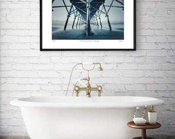 Bathroom Decor, Fishing Pier, Folly Beach SC Photograph, Teal blue, Ocean Photography, Nautical Coastal Decor, Pier Print, Bathroom Wall Art