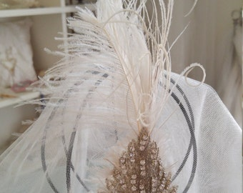 Ostrich Feather and Crystal Fascinator