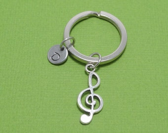 Treble Clef Keychain, Musical Note Keychain, Musical Keychain, Music, Musician, Music Teacher, Personalized Keychain, Customized, Initial