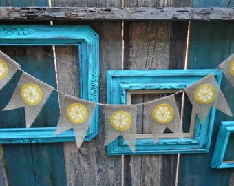 Lemon Slice Burlap Banner Garland