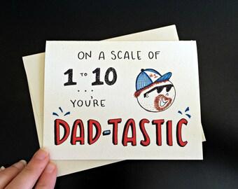 Dad-Tastic Funny Dad Birthday Card / Funny Dad Card / Father Birthday / Card for Dad