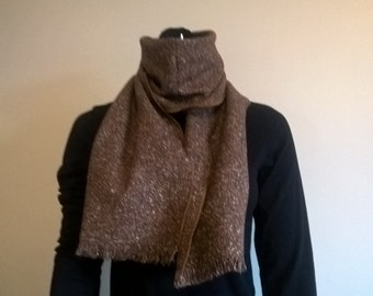 Irish tweed scarf - 100% wool - brown - ready for shipping - HANDMADE IN IRELAND