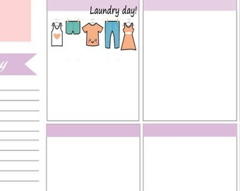 Kawaii Clothes Line Stickers To Use With Erin Condren Planner