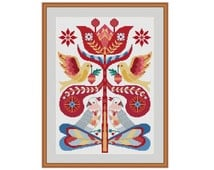 Flower cross stitch, Cross stitch flowers,  Bird cross stitch, Cross stitch birds, Floral cross stitch, Scandinavian art, Retro cross stitch