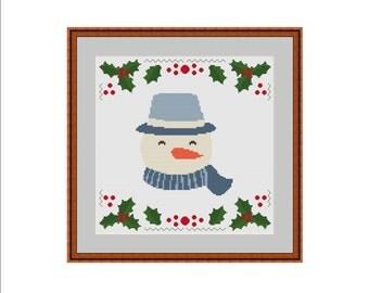Snowman cross stitch, Christmas cross stitch, Christmas snowman cross stitch, Winter cross stitch, Cross stitching pattern, Cross stitch PDF