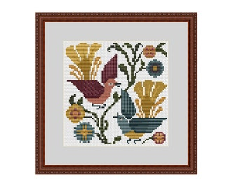 Primitive cross stitch patterns, Counted cross stitch pattern, Bird cross stitch, Primitive bird, Bird pattern, Cross stitch PDF, Xstitch