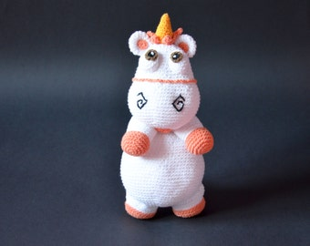 Crochet PATTERN - Unicorn by Krawka, cute, pink, fluffy, rainbow, white pony