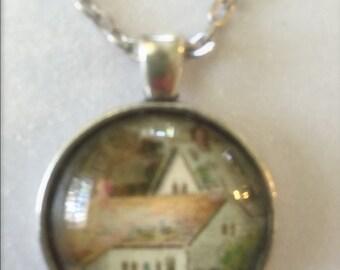 Cottage pendant necklace - Vintage postcard