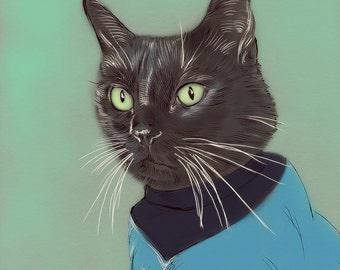 Custom DIGITAL Pet Portrait+ Accesories - Personalized Cat Illustration-Gift-Pet Portrait-Printable Art-Cat-Gift-Dog-Pet Illustration