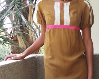 VINTAGE 1960s Cocoa Brown Empire Waist Babydoll Mod Short Dress, Size XS