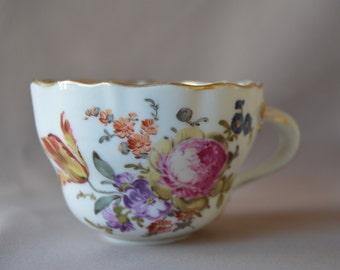 Vintage Meissen Porcelain Floral Tea Coffee Cup - Gold Rim - Cafe au Lait Petit Dejeuner