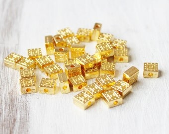 Set of 10, Double Sided, Square Bead, Bright Gold,  CF001