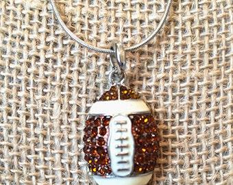 Rhinestone Enamel Football Necklace