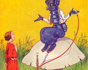 RARE VINTAGE ALICE In Wonderland Illustration. Alice In Wonderland Art Deco Book Cover. Art Deco Alice Digital Download.