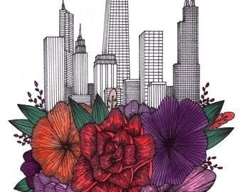 Chicago Floral Cityscape