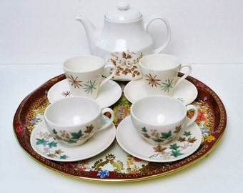 Vintage Tea Coffee Set,  Royal Kent Teapot Staffordshire,  4 vintage cup and saucers, Teal and Brown