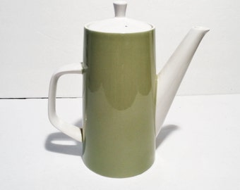 Vintage Mikasa Cera-Stone Mid Century Modern Coffee/Teapot, Ivy Leaf Green Color