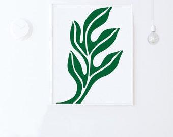 Leaf Print-Modern Wall Art Print,Instant Download-Green Printable Art,Mid Century Modern Printable Poster,Green Wall Art,Leaf Wall Art,16x20