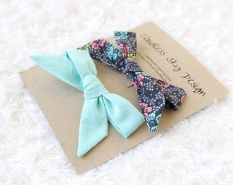 classic hair bow, tied hair bow, blue bow, baby hair bow, toddler hair bow, hair bow, gray bow, girls hair accessory, hair accessories