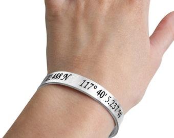 Custom Coordinates Cuff Bracelet - Coordinates Jewelry - Location Bracelet - Personalized Bracelet- Jewelry Gift - Memorial Jewelry