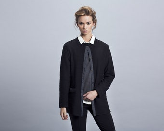 Black jacket,black long sleeve Women Jacket,black coat,Long Jacket,casual jacket,elegant jacket,autumn coat,cotton coat,cotton jacke