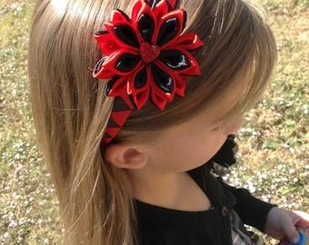 Headband ,Red and Black Kanzashi headband - Kanzashi flower headband - bow headband - hair accessories - women headband.