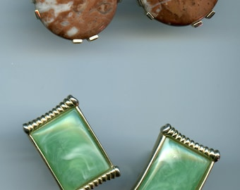 Two Sets Vintage Large Flashy Agate Mad Men MCM Mid Century Don Draper Cuff Links