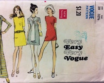 1970s maxi mini and micro mini dress Vogue 7797 vintage sewing pattern Bust 32.5 Waist 24 Hip 34.5 Retro 70s boho hippie Easy shift dress