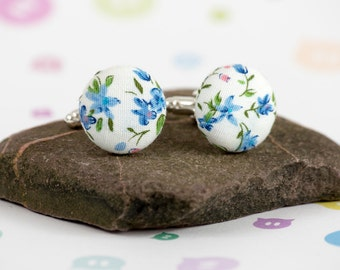 Button cufflinks - mens accessory - fabric cufflinks - wedding accessory - handmade buttons - stylish gift