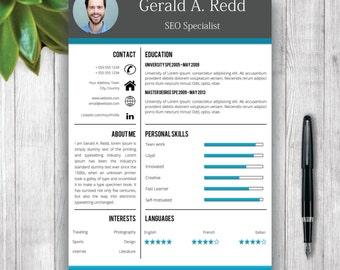 creative cv template cover letter word curriculum vitae professional resume template design - Resume Template Design
