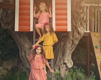 "Yellow Girls Dress in Sizes 2 to Size 13 - The ""Poppet"" Girls Fall Dress in Burnished Gold"