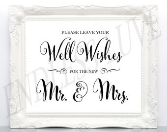 Wishing Well Sign - Well Wishes Sign - Wedding Well Wishes Sign - Wishing Well Wedding Sign - Printable Wedding Signs