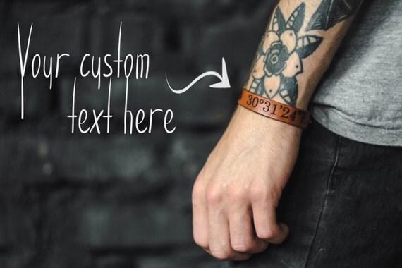 Custom GPS leather bracelet - personalized coordinates leather band - engraved location strap - longitude - latitude - location bracelet