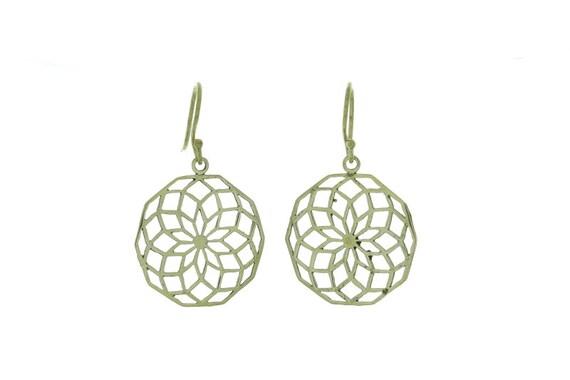 Geo Flower Earrings, Brass Earrings, Flower Earrings, Gypsy Earrings, Ethnic Earrings