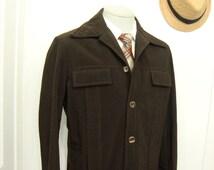 1970s Corduroy Suit Jacket Vintage Mens Disco Era Five button Blazer Dark Brown Sport coat / Size 44R / Large / Lrg / L