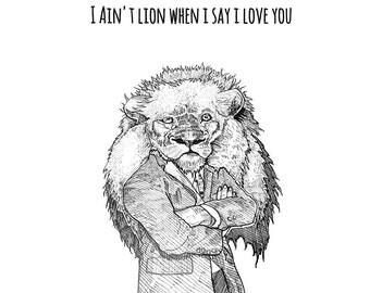 Lion Valentine's Day Card