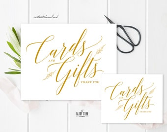 Wedding Sign , Cards and Gifts , Printable Wedding Sign , 8x10 , PDF , Instant Download , Gold Sign