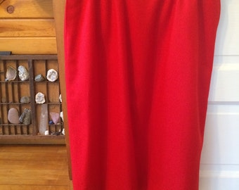 Pendleton Vintage 1970's Red Wool banded waist Knee Length High Waist Skirt Pinup Pockets