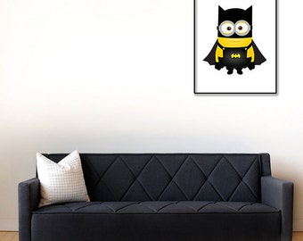 Bat Man Prints Minions Print Batman Decor Superheros Wall