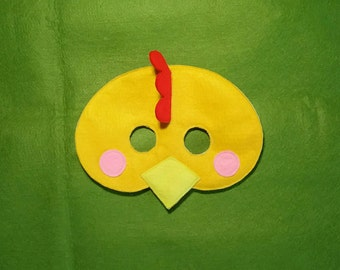CHICKEN Felt Mask - Farm animal mask - children adult mask - themed dress up - yellow chicken costume