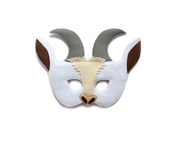 goat felt mask farm animal mask kids adult mask by pokiplays. Black Bedroom Furniture Sets. Home Design Ideas