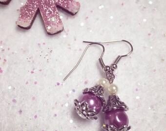 Violet Pearls Vintage Style Earrings | Purple Pearl Earrings | Pearl Drop Earrings | Handmade Jewelry