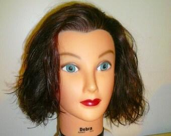 Hair Styling /Display Prop /Brown Hair Medium Long /Haircut Styling Head /by VintageReinvented