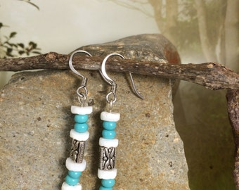 Sterling Silver Dangle Earrings with Shells and Blue Beads